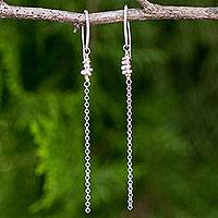 Gold accented sterling silver dangle earrings, 'Rain Chain'