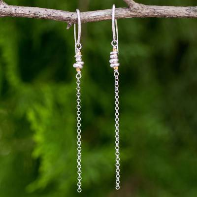 Gold accented sterling silver dangle earrings, 'Rain Chain' - Long Chain Dangle Earrings in Sterling with Gold Accents