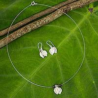 Garnet and sterling silver jewelry set, 'Leaf Impressions'