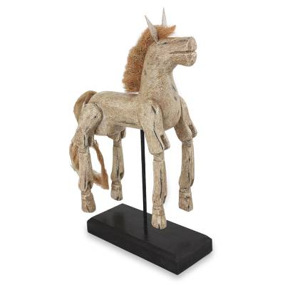 Artisan Crafted Wood Horse Sculpture with Antique Look