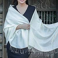 Rayon and silk blend shawl, 'Elegance in Cream' - Flowers on Cream colour Silk Blend Shawl from Thailand