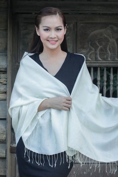 Rayon and silk blend shawl, 'Elegance in Cream' - Flowers on Cream colour Silk Blend Shawl from Thailand