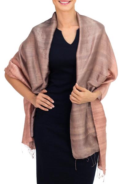 Silk shawl, 'Shimmering Cinnamon' - Brown Woven 100% Silk Shawl from Thailand