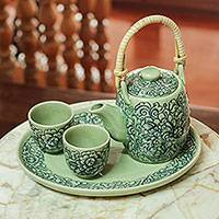 Celadon ceramic tea set, 'Thai Camellia in Blue' (set for 2) - Blue and Green Floral Ceramic Tea Service (set for 2)