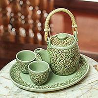 Celadon ceramic tea set, 'Thai Camellia in Brown' (set for 2) - Handmade Floral Ceramic Tea Set from Thailand (set for 2)