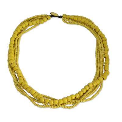 Yellow Wood Bead Necklace Hand Crafted in Thailand