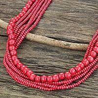 Wood beaded necklace, 'Cabana Dance' - Fair Trade Long Wood Beaded Necklace in Bright Red