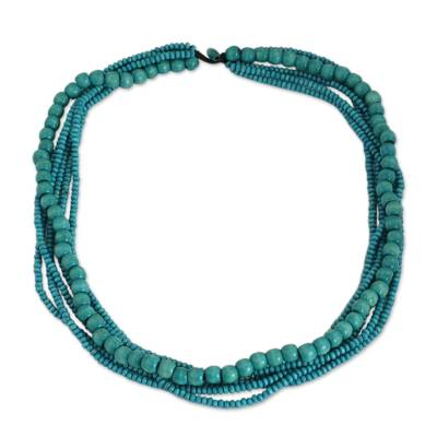 Hand Crafted Necklace with Turquoise Blue Wood Beads