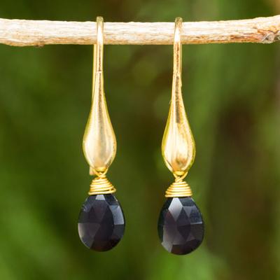 Gold vermeil onyx dangle earrings, 'Black Glamour' - 24k Gold Vermeil Earrings with Genuine Onyx Briolettes