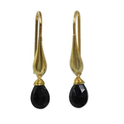 24k Gold Vermeil Earrings with Genuine Onyx Briolettes