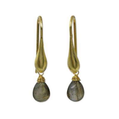 Gold vermeil labradorite dangle earrings, 'Mystical Glamour' - Labradorite Dangle Earrings in 24k Gold Vermeil