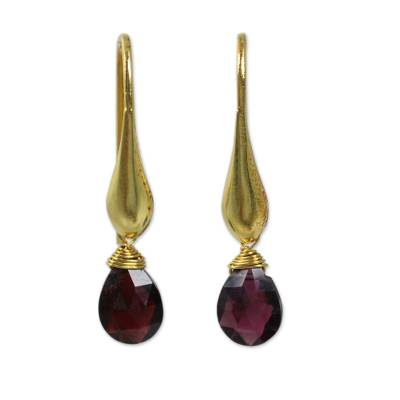 Gold vermeil garnet dangle earrings, 'Crimson Glamour' - Hand Made Dangle Earrings with 24k Gold Vermeil and Garnet