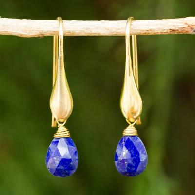 Gold vermeil lapis lazuli dangle earrings, 'Blue Glamour' - Lapis Lazuli and 24 Gold Plated 925 Silver Dangle Earrings