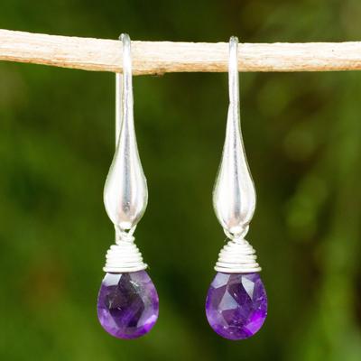 Amethyst dangle earrings, 'Sophisticated Purple' - Matte Finish Sterling Silver and Amethyst Dangle Earrings