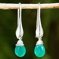 Green onyx dangle earrings, 'Sophisticated Green' - Sterling Silver Dangle Earrings with Enhanced Green Onyx