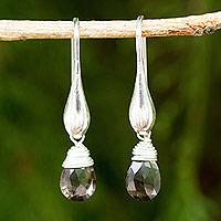 Smoky quartz dangle earrings, 'Sophisticated Smoke' - Fair Trade Dangle Earrings with Smoky Quartz and Silver