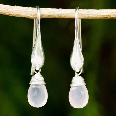 Rose quartz dangle earrings, 'Sophisticated Rose' - Artisan Crafted 925 Silver and Rose Quartz Dangle Earrings