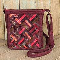 Cotton shoulder bag, 'Red Siam' - Thai Applique Red Cotton Shoulder Bag with 3 Pockets