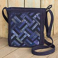 Cotton shoulder bag, 'Blue Siam' - Blue Cotton Thai Applique Shoulder Bag with 3 Pockets