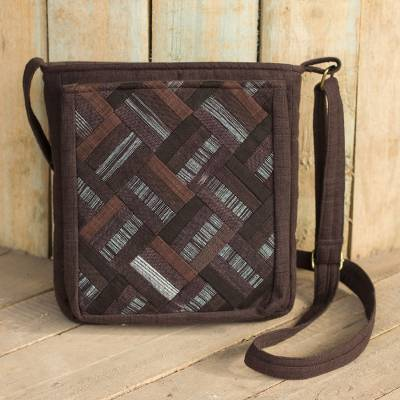 Cotton shoulder bag, 'Dark Brown Siam' - Cotton Thai Applique Dark Brown Shoulder Bag with 3 Pockets