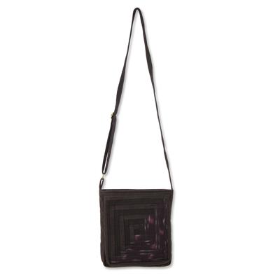 Novica Cotton shoulder bag, Black Siam