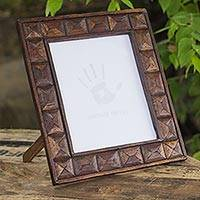 Upcycled teakwood photo frame, 'Nostalgic Siam' (7x9) - Upcycled Teakwood Photo Frame Crafted by Hand 7x9