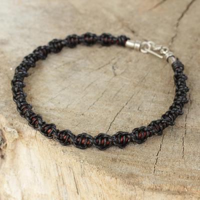 Men's leather braided bracelet, 'Black Magnificence' - Men's Artisan Crafted Black Leather Braided Bracelet