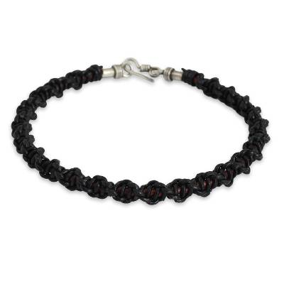 Men's leather braided bracelet, 'Black Magnificence' - Men's Artisan Crafted Black Leather Braided Bracelet