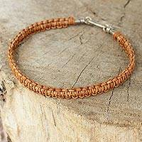 Men's leather braided bracelet, 'Brown Magnificence'