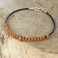Men's leather and silver bracelet, 'Tribal Paths' - Men's Brown Leather Bracelet Crafted by Hand with Silver