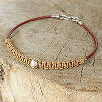 Men's leather and silver bracelet, 'Loi Krathong Moon' - Men's Hand Knotted Brown Leather and Silver Bracelet
