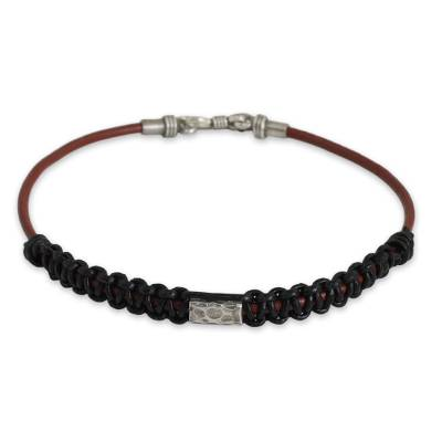 Men's leather and silver bracelet, 'Vintage Siam' - Black and Brown Men's Leather Bracelet with Silver