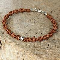 Men's leather and silver bracelet, 'Tribal Travels' - Artisan Crafted Men's Leather Bracelet with Silver Bead