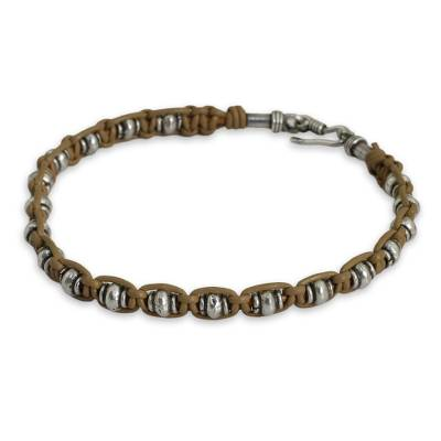 Men's leather and silver bracelet, 'Lanna Warrior' - Men's Silver and Tan Leather Hand Crafted Bracelet