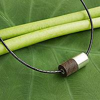 Men's sterling silver and wood pendant necklace, 'Equilibrium' - Thai Hand Made Wood and Silver Men's Pendant Necklace