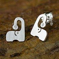 Sterling silver button earrings, 'Elephants Sparkle' - Thai Brushed Silver Elephant Button Earrings with CZ