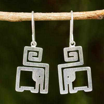 Sterling silver dangle earrings, 'Elephant in a Box' - Handmade Sterling Silver Modern Earrings with Elephant Theme