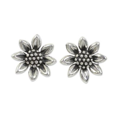 Handmade Sterling Silver Sunflower Earrings from Thailand