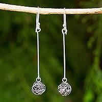 Sterling silver dangle earrings, 'Tangle' - Contemporary Design Sterling Silver Wire Dangle Earrings