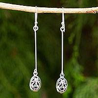 Sterling silver dangle earrings, 'Falling For You' - Fair Trade Silver 925 Earrings Hand Made in Thailand