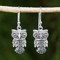Sterling silver dangle earrings, 'Owl Love'
