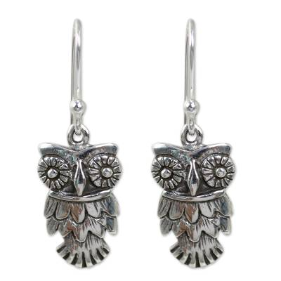 Hand Crafted Owl Dangle Earrings in Sterling Silver 925