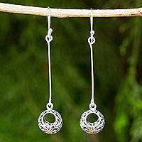 Sterling silver dangle earrings, 'Moonlit Filigree' - Dangle Style Earrings in Sterling 925 Silver Filigree