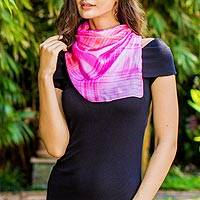 Silk scarf, 'Rose Plaid' - Pink 100% Silk Hand Dyed Square Scarf from Thailand