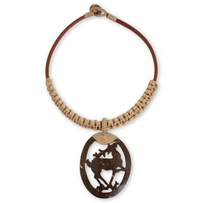 Coconut Shell Pendant on Hand Crafted Leather Necklace