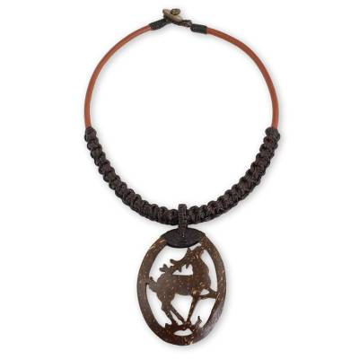 Handmade Leather Necklace with Coconut Shell Pendant
