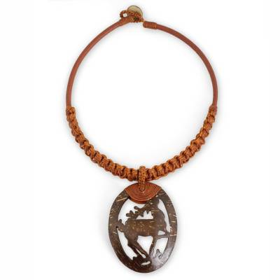 Artisan Jewelry Coconut Shell and Leather Necklace