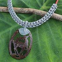Leather and coconut shell pendant necklace, 'Happy Deer in Grey' - Coconut Shell Pendant on Hand Crafted Leather Necklace