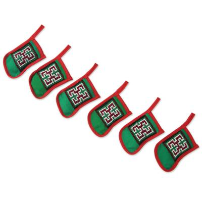 6 Hmong Hill Tribe Hand Embroidered Christmas Ornament Set