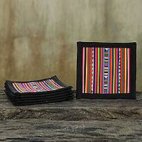 Cotton coasters, 'Lahu Festivity' (set of 6) - Hill Tribe Hand Crafted Cotton Patchwork Coasters (Set of 6)